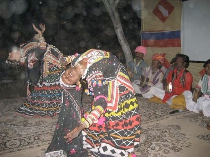 Sunita & I performing traditional Kalbelia dance. Rajasthan, India.